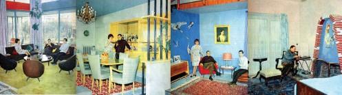??  ?? 6 İşte Bizim Hiyakemiz ve Haram filmlerinde arka fonda yer alan Necmi Şahin Villası. İstasyon filminden Necmi Şahin Villası'na ilişkin detaylı görüntüler 7 Muammer Karaca Evi'nin Ses dergisinde yer alan fotoğrafları 8 Umut Şumnu ve Cihat Çağlar tarafından Türkiye'de Modern İç Mekânlar Sempozyumu kapsamında yaptıkları Muammer Karaca Evi sunumu için filmler üzerinden çıkarılan plan ve kesit çizimleri