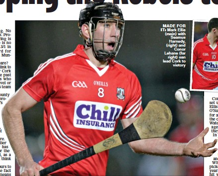 ??  ?? MADE FOR IT: Mark Ellis (main) with Seamus Harnedy, (right) and Conor Lehane (far right) can lead Cork to victory