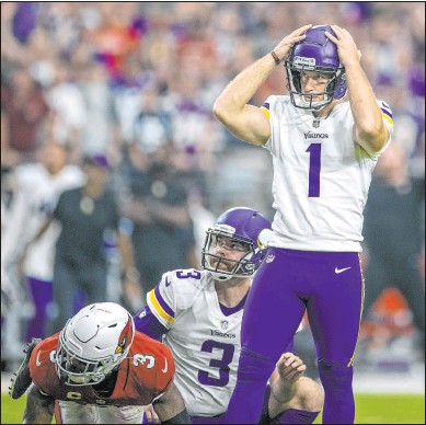 ?? Elizabeth Flores The Associated Press ?? Minnesota Vikings kicker Greg Joseph reacts after missing a potential game-winning field goal against the Arizona Cardinals in a 34-33 loss on Sunday in Glendale, Ariz.