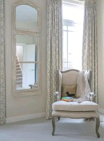 ??  ?? MASTER BEDROOM Soft-toned fabrics give the grand proportions of this space a relaxed feel. Curtains in Aylsham, £110m, Fermoie. Mirror, £1,295, Nordic Style. Casanova chair, £346.50, Maisons du Monde is similar