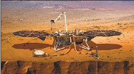 ?? NASA ?? AN ARTIST'S impression of the InSight lander on Mars. The lander's highly sensitive seismometer detected an earthquake on April 6, scientists said.