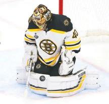 "?? SCOTT KANE/ASSOCIATED PRESS ?? ""He's been by far and away the Bruins' best player all playoffs long,"" analyst Brian Boucher said of Boston goaltender Tuukka Rask."