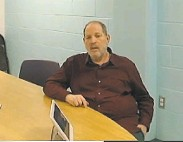 ?? New York Unified Court System ?? Harvey Weinstein participates in a hearing Friday in Alden, N.Y., in an image from court video.