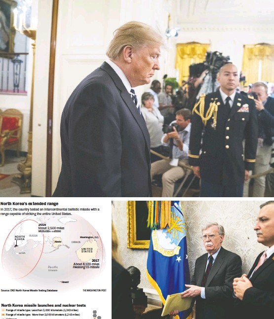 """?? PHOTOS BY JABIN BOTSFORD/THE WASHINGTON POST ?? TOP: President Trump wrote to Kim Jong Un: """"You talk about your nuclear capabilities, but ours are so massive and powerful that I pray to God they will never have to be used."""" ABOVE: National security adviser John Bolton was criticized by North Korea..."""