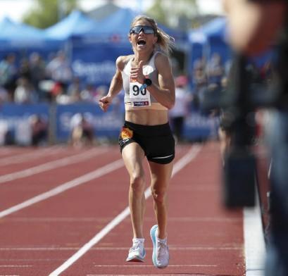 ?? Bild: Vidar Ruud ?? Therese Johaug vann guld i norska mästerskapen på 10 000 meter sommaren 2019.