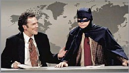 """?? Al Levine NBCUniversal via Getty Images ?? 'A PURE COMIC' Norm Macdonald, left, interviews """"Batman's"""" Adam West (Michael McKean) on """"SNL's"""" """"Weekend Update"""" in 1995. Below, in 2019 at a charity poker event."""