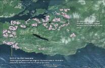 ?? SOURCE: SPIRIT OF THE WEST ADVENTURES LTD. ?? This graphic shows the location of two planned TimberWest clearcuts next to Boat Bay, a kayak camping area on West Cracroft Island in Johnstone Strait.
