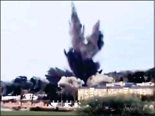 ??  ?? KABOOM: The German device is detonated yesterday in a residential area of Exeter