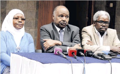 ?? /MARGARET WANJIRU ?? Members of the mental health task force Halima Mwenesi, Frank Njenga and Lukoye Atwoli address the press in Nairobi, urging the government to allocate one per cent of the budget to mental healthcare