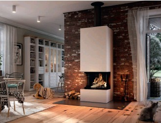 ??  ?? Above: Dru's SP Varia built-in wood burner gives the effect of an open fire thanks to its large glazed area, but with the energy efficiency of a stove
