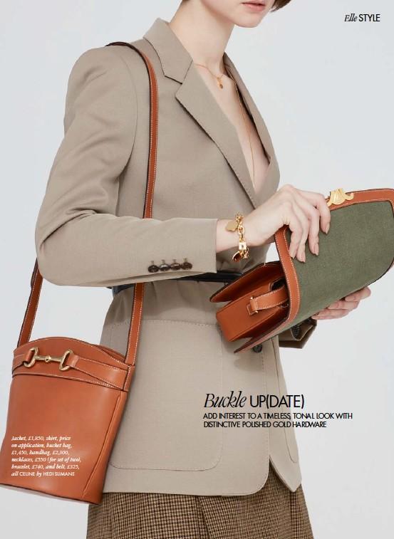 ??  ?? Jacket, £1,850, skirt, price on application, bucket bag, £1,450, handbag, £2,300, necklaces, £550 (for set of two), bracelet, £740, and belt, £325, all CELINE by HEDI SLIMANE