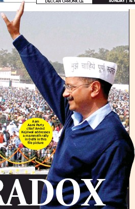 ??  ?? Aam Aami Party chief Arvind Kejriwal addresses a mammoth rally in Delhi in this file picture