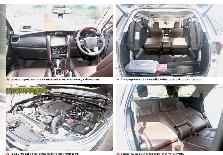 ??  ?? Luxirious appointments in the interior such as leather upholstery and wood trim. The 2.4-litre turbo diesel engine has more than enough grunt. Second row seats can be reclined for even more comfort. Storage space can be increased by folding the second and third row seats.