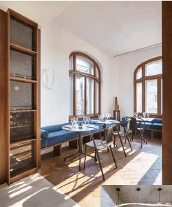 ??  ?? Above and below London-based Manea Kelly, with local Penta Sil Studio, have transforme­d this art nouveau house into stylish Casa Popeea hotel