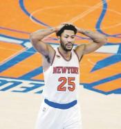 ?? EFE / EPA / Jason Szenes ?? SEGUNDA VEZ. Derrick Rose llega a los Knicks por segunda vez. Jugó con ellos en el 2016-17.