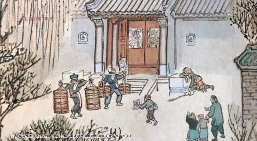??  ?? 门前车马喧嚣,送往迎来,大包小盒,都是拜年送礼的(选自《残冬京华图》)