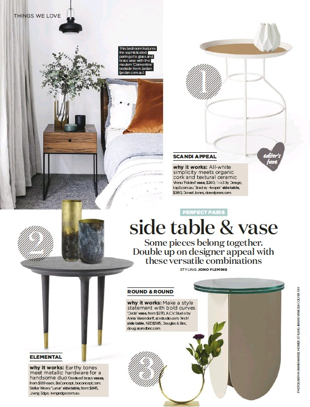 ??  ?? This bedroom features the sophisticated pairing of a glass and brass vase with the modern 'Clementine' bedside from Jardan (jardan.com.au).