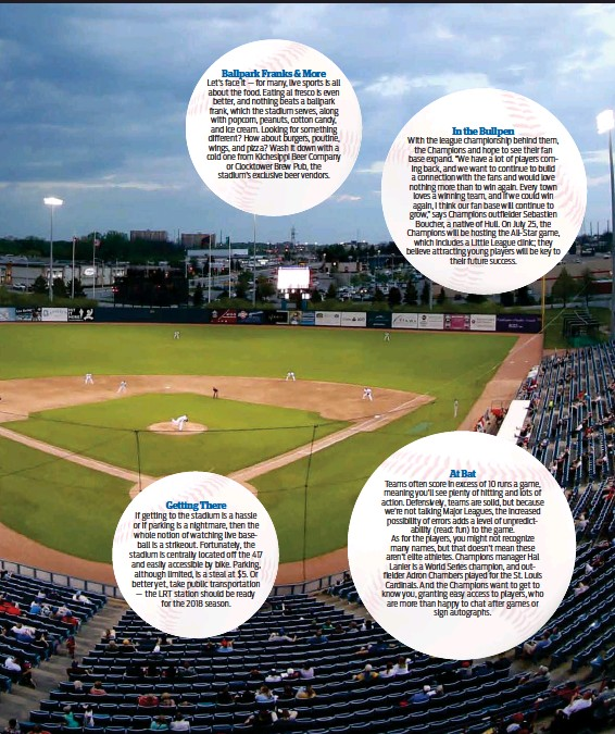 ??  ?? Let's face it — for many, live sports is all about the food. Eating al fresco is even better, and nothing beats a ballpark frank, which the stadium serves, along with popcorn, peanuts, cotton candy, and ice cream. Looking for something different? How...