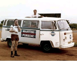 ??  ?? Above left: 1978 Werner Hillburger on the way to the Safari rally in a VW Combi Above right: 1984 and posing with new MAN and Mercedes articulated trucks