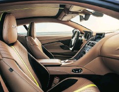 ??  ?? The interior of the 2019 DB11 AMR is swathed in Dark Knight leather with lime-coloured detailing.