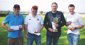 ??  ?? TOP LEFT Proud Perazzi prizewinners, with Richard Greenlaw holding the cup centre right