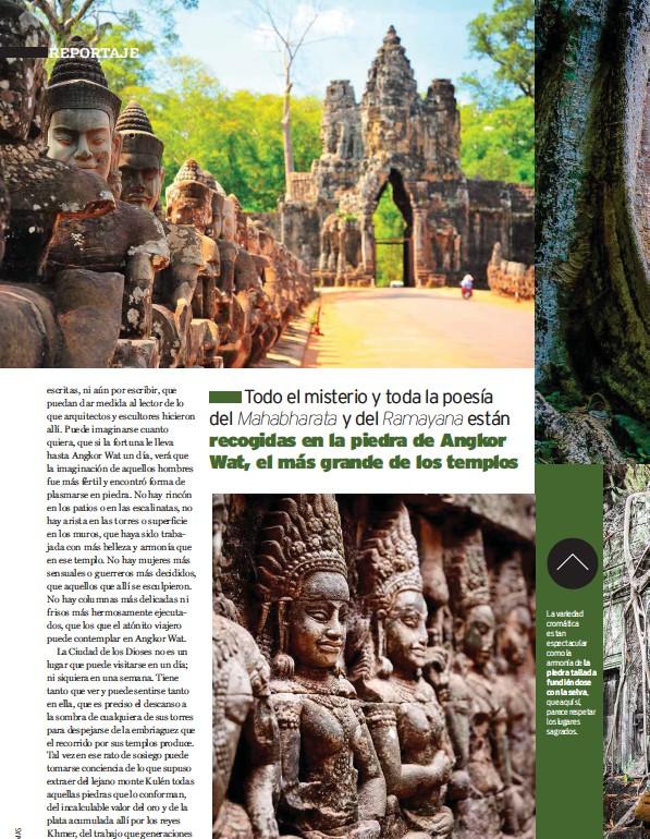 ??  ?? La variedad cromática es tan espectacular como la armonía de la piedra tallada fundiéndose con la selva, que aquí sí, parece respetar los lugares sagrados.