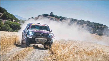 ??  ?? Qatar's Nasser Saleh al-Attiyah and his French co-driver Matthieu Baumel in action at the Andalucia Rally in Spain yesterday.