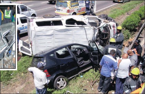 ??  ?? The scene of a multi-vehicle accident on Umgeni Road on Friday morning, which left 20 people injured. Since Friday morning, nearly 40 people have been injured and five killed in a spate of accidents on KwaZuluNatal's roads.