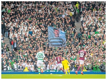 ??  ?? Celtic take on Hearts in front of a full house at Hampden in the 2019 Scottish Cup Final, which the Hoops won 2-1 2019