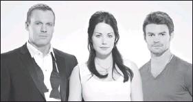 ??  ?? Michael Shanks ( left) plays Dr. Charles Harris, Erica Durance is Dr. Alex Reid and Daniel Gillies stars as Dr. Joel Goran in the new medical drama Saving Hope.