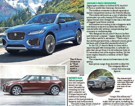 """?? WWW.DANIELKRAUS.DE JAGUAR ?? While it grew in size, Mini's third-generation 2016 Clubman retains its signature look. The F-Pace crossover is """"first and foremost a Jaguar."""""""