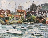 ??  ?? Sally West, North Sydney wharf from Kurraba – Plein Air, on canvas, 120 x 150cm