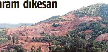 ??  ?? Kawasan hutan diteroka dipercayai untuk kegiatan melombong secara haram di Tasik Chini.