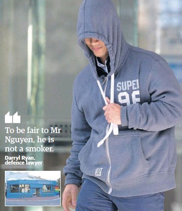 ??  ?? Hoang Nguyen runs from court yesterday and, inset, one of his shops. Picture: Michael O'Brien
