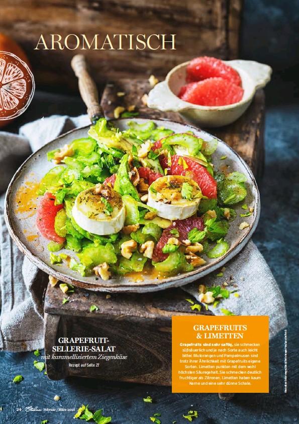 ??  ?? Rezept auf Seite 27 mit karamellisiertem Ziegenkäse GRAPEFRUITSELLERIE-SALAT