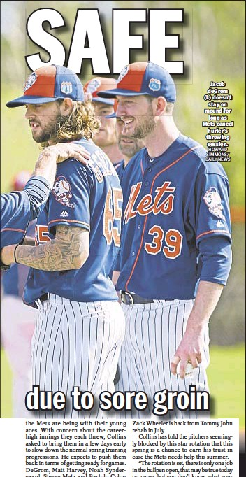 ?? HOWARD SIMMONS/ DAILY NEWS ?? Jacob deGrom (l.) doesn't