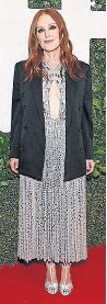 """??  ?? At the """"Dear Evan Hansen"""" premiere, Julianne Moore sparkled in Deco-inspired Celine with matching silver T-strap sandals."""