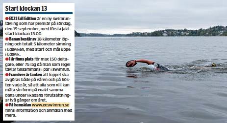?? FOTO: CHRISTER SCHAPIRO ?? KYLIGT. Det väntas det vara i Edsviken på söndag när uppemot 100 deltagare kastar sig i för att vara med på premiären av ett nytt swimrunlopp.