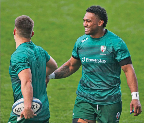 ?? Sky Sports ?? Waisake Naholo is welcomed back by his London Irish team-mate as he helps his club's bid to retain their top six place in the Gallagher Premiership and qualify for next season's Heineken Cup. Photo: