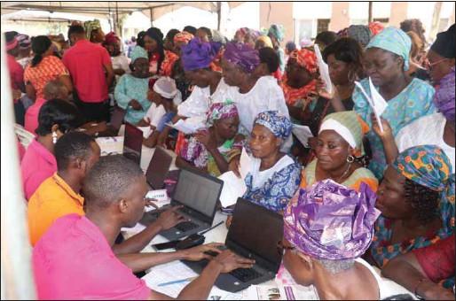??  ?? Some of the widows undergoing health screening