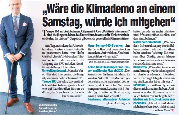 """?? """"Heute"""" ?? Verkehrsminister Norbert Hofer zu Gast bei"""