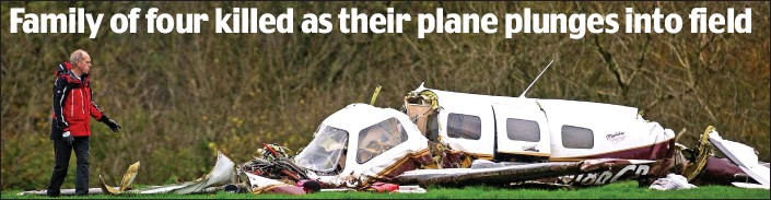 ??  ?? Shattered: The wreckage of the light aircraft in the field in Somerset. All four occupants were killed and investigators are still trying to find out the cause of the tragedy