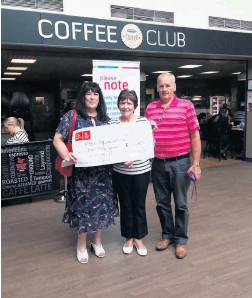 ??  ?? Cheque this Ian and Mary Grant present a cheque to Collette Thain of the PBC Foundation