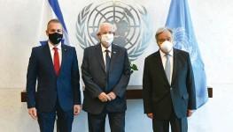 """?? צילום: חיים צח/לע""""מ ?? מזכ""""ל האו""""ם גוטרש, הנשיא ריבלין והשגריר ארדן"""