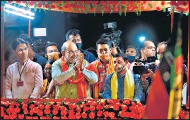 ?? AFP ?? Union home minister Amit Shah during a roadshow in Siliguri on Tuesday.