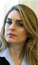 ?? —AP ?? Former model Hope Hicks at the Oval Office on Feb. 9