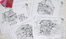 ??  ?? The Charmed Playhouses team of carpenters builds directly off Americanbased architect Wayne Visbeen's whimsical sketches, and finishes the interiors with electricity, fireplaces and cabinets.