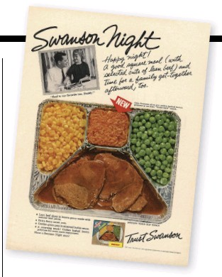 """??  ?? """"Eating off a tray in the dusk before a TV set is an abomination,"""" the columnist Frederick C. Othman wrote in 1957."""