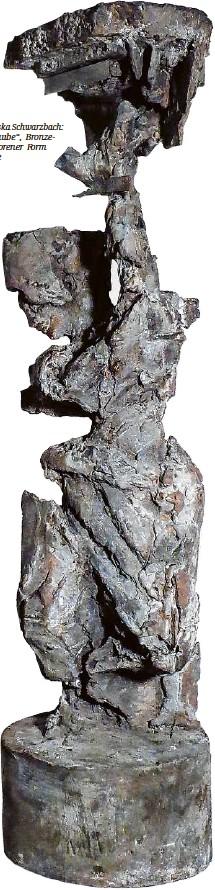 """??  ?? Anna Franziska Schwarzbach: """"Kore mit Taube"""", Bronzeguss in verlorener Form in Schamotte"""