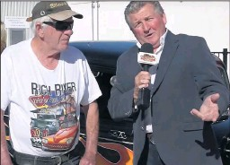 ??  ?? ■ LEFT: Deniliquin's Barry Rutledge shows his famous hot rod to the host.